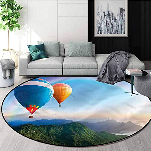 Best Review Of RUGSMAT Rainbow Round Area Rug,Lovely Mountain Side Floor Mat Home Decor Diameter-63
