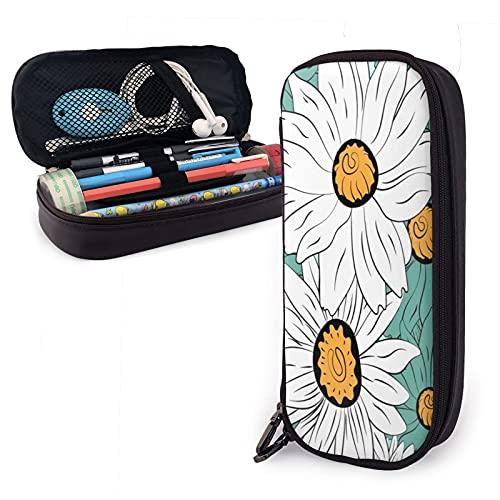Flores de plantas azules y blancas una Sizepencil caso de cuero de gran capacidad cremalleras bolsa de lápiz oficina titular organizador caja de papelería bolsa de cosméticos unisex