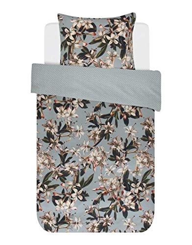 ESSENZA Duvet Cover Set 140 x 200/220 cm + 1 Pillowcase 60 x 70 cm Powder Green Lily – Duvet Cover Collection Finished with a Double Flap.