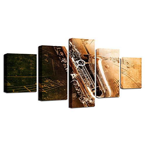 Wieoc Leinwand Gemälde Für Wohnzimmer Wohnkultur Rahmen Hd Drucke Poster 5 Stücke Saxophon Musikinstrumente Bilder Wandkunst-150X80Cm