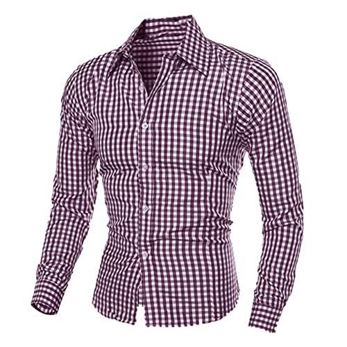 N\P Camisas a cuadros de manga larga de auto-cultivo camisa traje camisa solapa alta