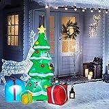 YQing 213cm Albero di Natale Gonfiabile, LED Luci Albero Natale Esterno con Scatole Regalo Multicolore Autogonfiabili illuminati Albero Ornamento per Esterni Giardino Casa(Spina Europea)