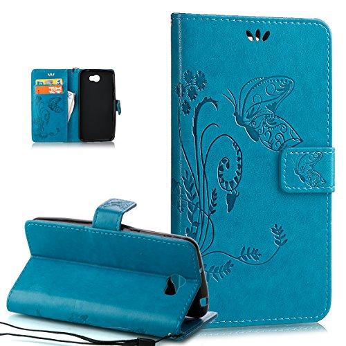 ikasus Compatible avec Coque Huawei Y5 II Etui,Motif Gaufrage Art Fleur Papillon Housse Cuir PU Etui Housse Cuir Portefeuille Protection supporter Flip Case Etui Housse Coque pour Huawei Y5 II,Bleu
