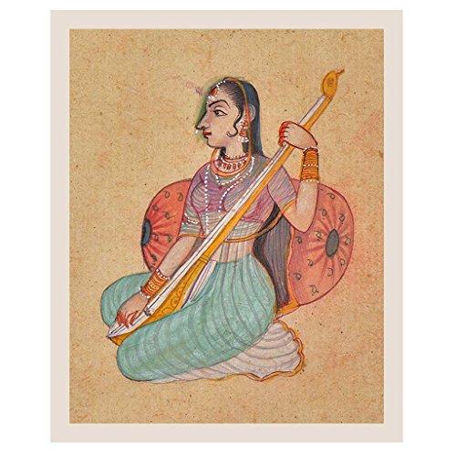 Indien étagère Papier Fait Main Peinture d'une Rajasthani Lady Jouer Tambura Peinture/Art Moghole PT-241