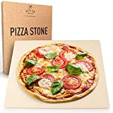 Zulay (15x12 inch) Large Pizza Stone for Oven - Heavy Duty Pizza Stone for Grill & Baking - Thermal Shock Resistant Rectangular Baking Stone for Oven with Dough Scraper