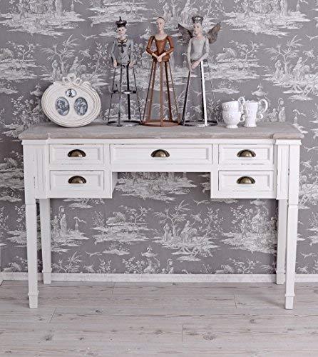 Konsolentisch Weiss Schreibtisch Shabby Chic Wandtisch Schubladen hmb179 Palazzo Exklusiv