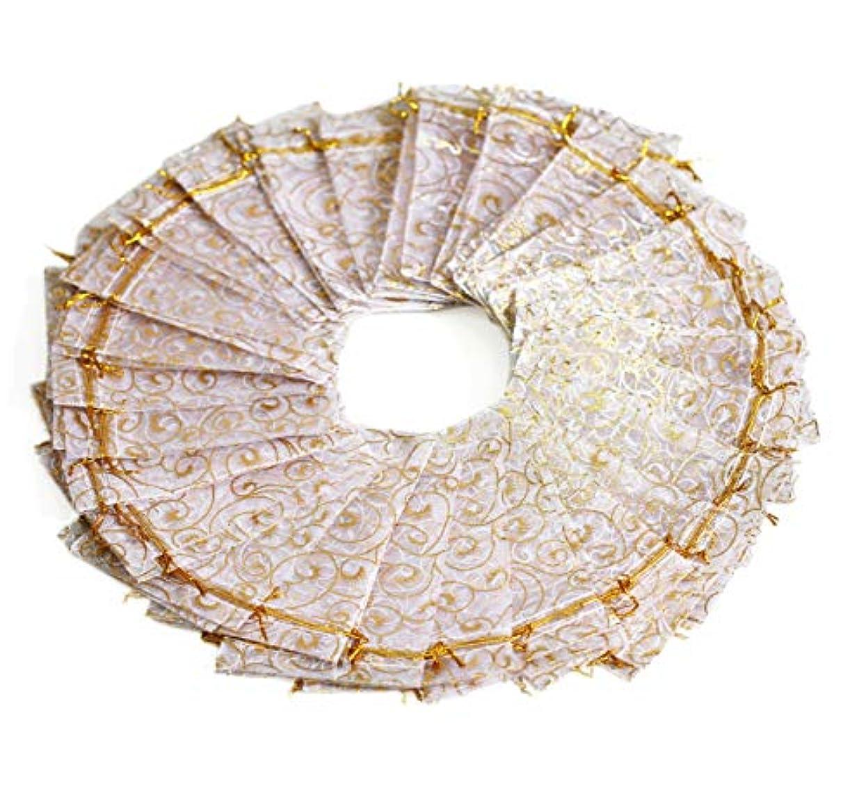EDENKISS Drawstring Organza Jewelry Pouch Bags Eyelash Gold 5X7 (White)