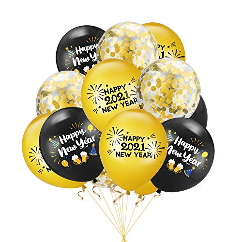 Dusenly 15 piezas 2021 globos de feliz año nuevo globos de confeti de látex de oro negro para decoraciones de fiesta de fin de año 2021