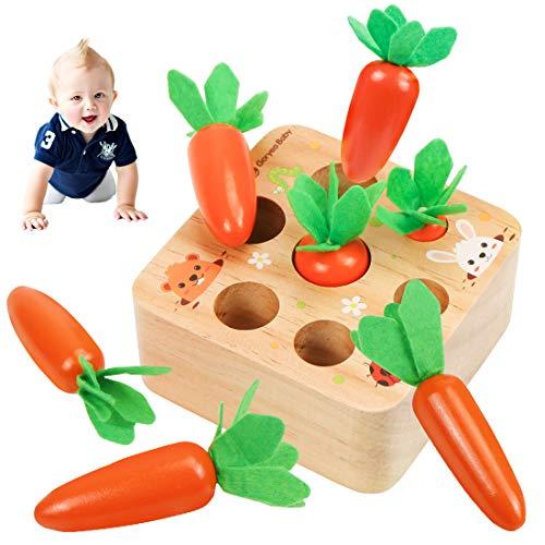 O-Kinee Karotte Spielzeug, Holzspielzeug, Karottenernte Montessori, Karottenspiel, Lernspielzeu, Sortierspiel Holz für Kinder, Baby Motorik Spielzeug für Jungen und Mädchen, Kindergeschenke