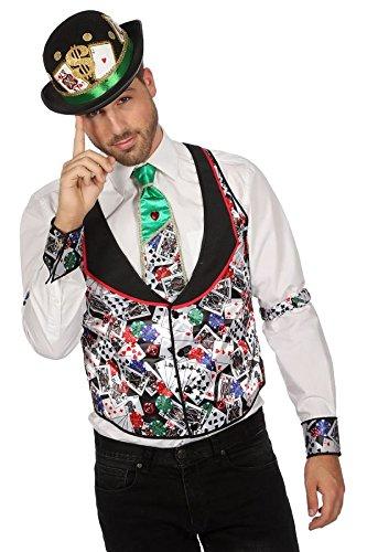 TH-MP Casino Spielkarten Poker Kostüm Fasching Karneval Mottoparty Herrenkostüm Damenkostüm (Casino Herrenweste, 56)