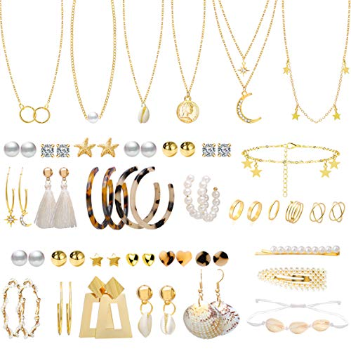 38 Pcs Jewelry Sets for Women with 22 Pairs Fashion Earrings,7 Pcs Chain Necklaces,6 Pcs Metal Knuckles and 2 Pcs Pearl Hair Clips for Girls Gifts