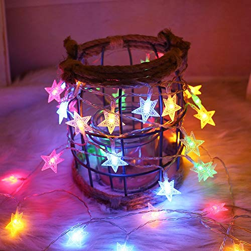 LED Star String Lights Christmas LED Garland LED String Fairy Lights Indoor and Outdoor Decorative Lights Battery Multicolor 10m100 LEDs