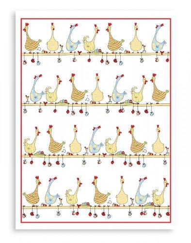 Reduziert! Kracht: saugfähige Geschirrtücher für Ostern, Halbleinen, Hühner auf der Stange, 2er Pack, 50x70 cm