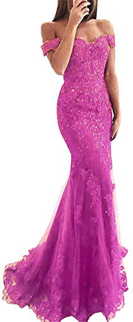 YHFDRESS Lace Applique Off The Shoulder Evening Dresses Mermaid Formal Gowns