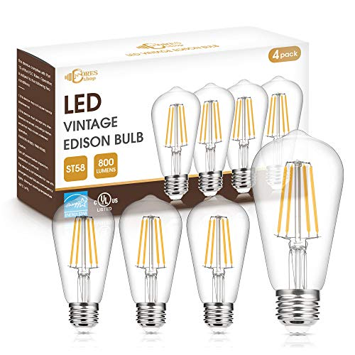 Vintage LED Edison Bulb 60W Equivalent, DORESshop Dimmable 7W ST58 Antique LED Filament Light Bulb, Warm White 2700K, E26 Base Squirrel-Cage Antique Lamp for Home Decor, UL & Energy Star Listed, 4Pack