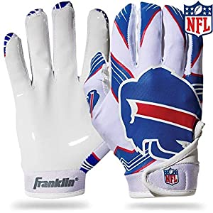 Franklin Sports Buffalo Bills Youth NFL Football Receiver Gloves - Receiver Gloves for Kids - NFL Team Logos and Silicone Palm - Youth S/XS Pair