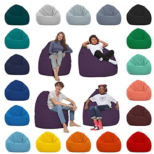 HomeIdeal - Sitzsack XXL Bodenkissen für Erwachsene & Kinder - Geeignet für Gaming oder Entspannen - Indoor wie Outdoor da er Wasserfest ist - mit EPS Perlen, Farbe:Lila, Größe:XXL