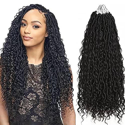 Fulcrum New Goddess Locs Crochet Hair 22 Inch, 7 packs Soft Faux Curly Locs Crochet Hair, River Faux Locs Crochet Hair with Curly Ends, Goddess Locs Crochet Synthetic Braids Hair (22Inch (7Packs ), 1B#)