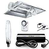 iPower GLSETX1000DHCT6XL 1000 Watt HPS Digital Dimmable Ballast Grow Light System Kits Horticulture Cool Tube Reflector Set XL Wing with Timer, 1000W, White