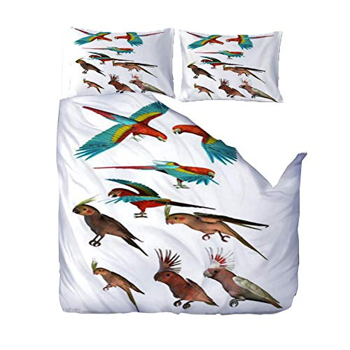 ZZZXX 3D Duvet Cover 220x260 Animal Parrot Printed Duvet Cover Set King Size - 3 Pics Ultra Soft Hypoallergenic Microfiber Quilt Cover Sets
