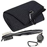 Mile High Life Microfiber Waffle Pattern Tri-fold Golf Towel | Brush Tool Kit with Club Groove Cleaner, Retractable Extension Cord and Clip (Black Towel+Black Brush)