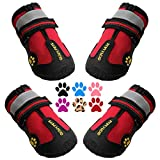 QUMY Dog Boots Waterproof Shoes for Large Dogs with Reflective Straps Rugged Anti-Slip Sole Black 4PCS (Size 6: 2.9'x2.5'(LW), Red)