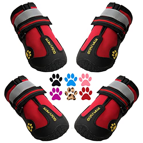 QUMY Dog Boots Waterproof Shoes for Large Dogs with Reflective Straps Rugged Anti-Slip Sole Black 4PCS (Size 7: 3.1'x2.7'(LW), red)