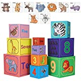 Nesting and Stacking Blocks Stacking Toys for Toddlers Plus Animal Puzzle Toys Set Number Blocks Toys Counting Toys Educational Montessori Toys