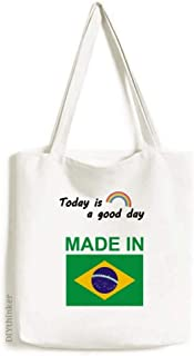Made In Brazil Country Love Tote Canvas Bag Craft Washable Fashion Shopping Handbag