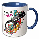 3dRose Karaoke Star Singer Modern Colorful Pop Art Vector Mic Microphone Two Tone Mug, 11 oz, Blue/White