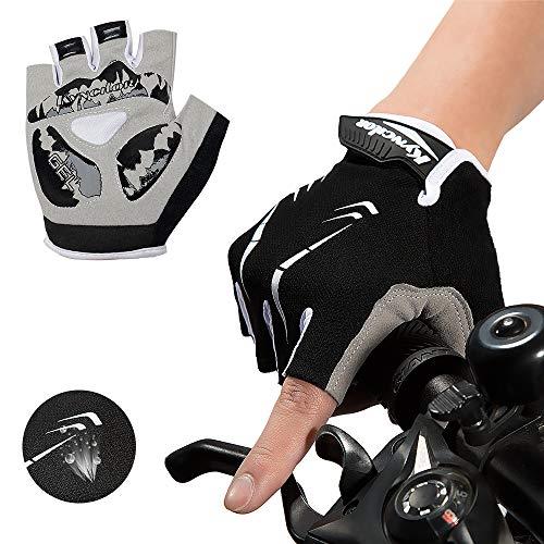 mylovetime Fahrradhandschuhe, Handschuhe Halbfinger Gel Stoßdämpfung Anti-Rutsch Herren Damen für Motorrad Mountainbike Radfahren (Schwarz, M)