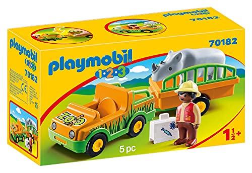 PLAYMOBIL 1.2.3 Vehículo Zoo Rinoceronte