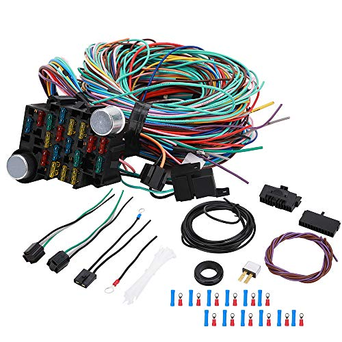 21 Circuit Wiring Harness Universal Automotive Classic Car Speedway Hot Rod Wiring Harness Kit for Chevy Mopar Ford GM 21 Circuit 17 Fuses 12 Volt Wire Harness Painless Basic Extra Long Standard Color