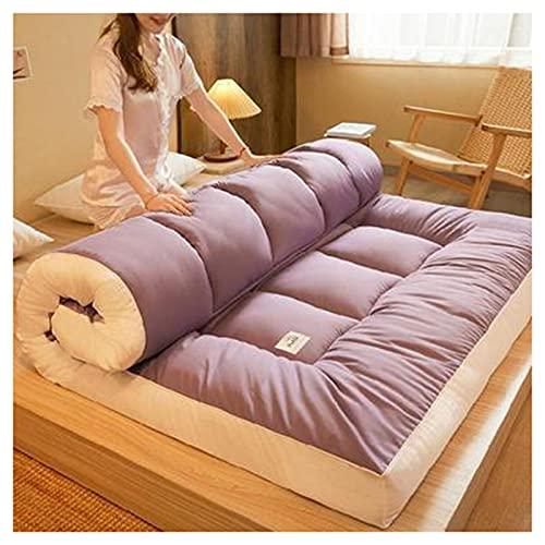 HFAFRZ Colchón de suelo japonés, colchón de futón, colchoneta gruesa tatami, colchón plegable enrollable para niños, cama para sofá, lila, 90 x 200 cm