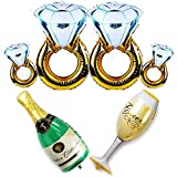 JETTINGBUY 6Pack Balloons Set - 4Pcs Diamond Ring Balloons + Champagne Bottle and Goblet Balloons, for Wedding Anniversary Engagement Bachelorette Party Decorations