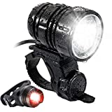 MOGZZi LED Bike Lights Set, USB Rechargeable Bicycle Lights Bright Front 1200 Lumen LED Head Torch Headlamp Waterproof with Battery Pack and Free Safety Taillight Included - Black