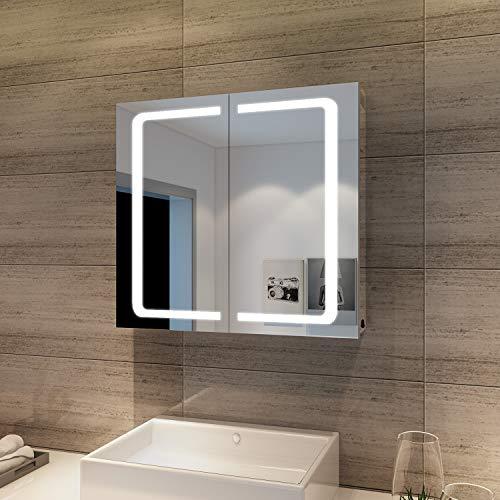 SONNI Spiegelschrank Bad mit Beleuchtung 2 türig 70 × 65 cm Badezimmerspiegel Wandschrank Badschrank mit Steckdose