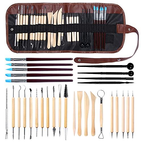 mreechan Modellierwerkzeug,30 Stück Carving Tools Clay Keramik Sculpting Ton Werkzeug mit eine Aufbewahrungstasche für Töpfer Künstler,Töpferwerkzeug Doppelseitige Carving Werkzeuge Sculpting Tools.