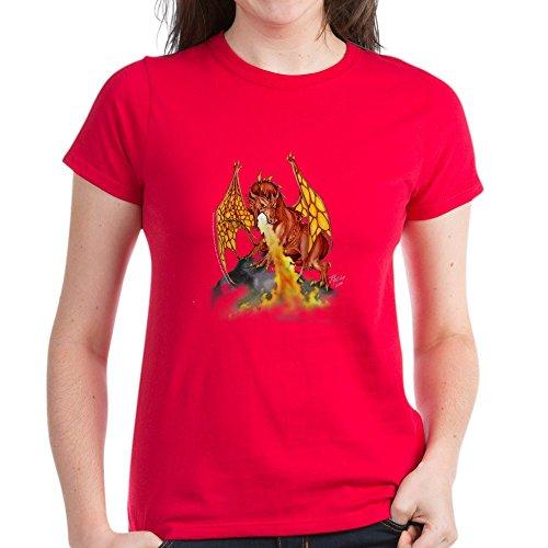 CafePress - Bloodwingblkt T-Shirt - Damen Baumwoll-T-Shirt Gr. M, rot