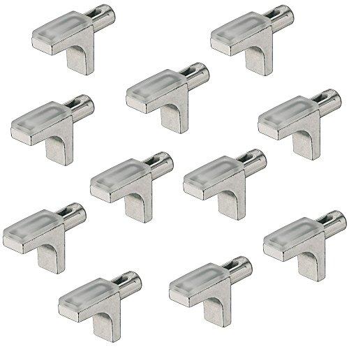 Gedotec Glas-Bodenträger 5 mm Fach-Bodenträger Holz Regalbodenträger - H9637 | Möbel-Tablarträger zum Einstecken | Stahl vernickelt - Kunststoff transparent | 20 Stück - Regalstifte für Bohrlöcher