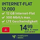Mobilcom-debitel Internet-Flat 12.000 en la Red de Vodafone (14,99 EUR al Mes, 24 Meses de duración, 12 GB de Internet Plano, LTE con máx. 500 Mbit/s, Plano, Triple Tarjeta SIM.