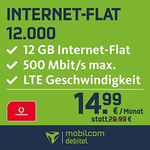 Mobilcom Debitel, internet flat 12.000nella rete Vodafone (abbonamento mensile della durata di 24mesi, 12GB Internet flat, LTE con massimo 500Mbit/s, flat roaming UE, scheda sim tripla).