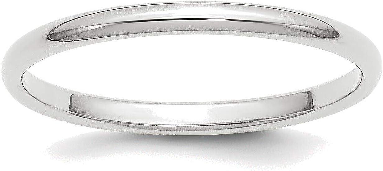 Bonyak New Orleans 1 year warranty Mall Jewelry 14kt White Gold 2mm in 7.5 Band Size Half-Round