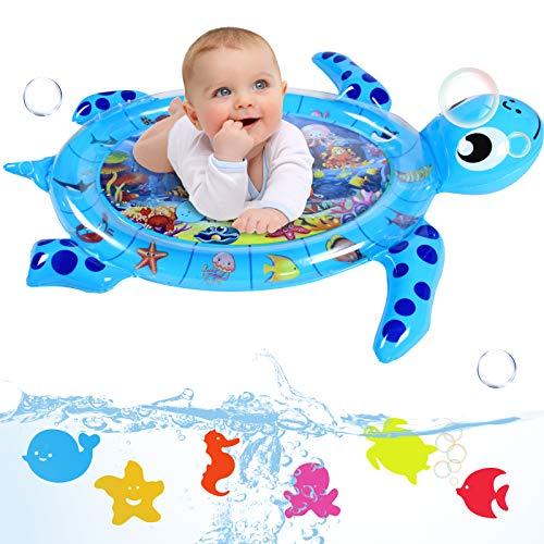 Infinno Tummy Time Mat Inflatable Baby Water Mat Baby Toys 3 6 9 12 Months for Infants Newborns and Toddlers Floor Activity Play Center, Strengthen Babies' Muscles in Daily Fun Time, Turtle, XLarge