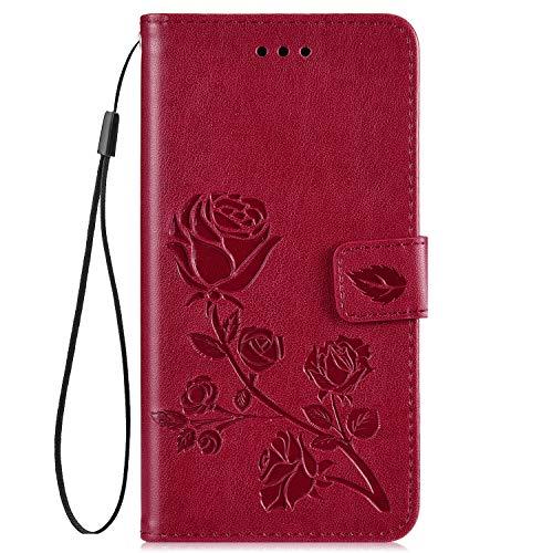 Hpory Kompatibel mit Huawei Y5 II Hülle, Huawei Y6 II Compact Handyhülle Retro Muster PU Leder mit Handschlaufe Strap Geldbörse Wallet Case Schutzhülle Hülle Tasche + 1 x Hpory Stylus - Rose Rot