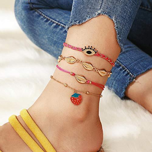 U/N Bohemian Ankle Bracelets Set Multilayer Shell Strawberry Bracelets Women Anklet Foot Jewelry Gift 4Pcs