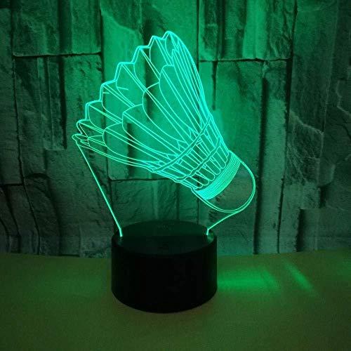 LED Nachtlicht Badminton Geschenk Spielzeug Dekoration 3D Folie 7 Farbe Touch Control USB powered Party Dekoration Licht 3D Stereo Licht für Hauptdekoration Weihnachten Geburtstagsgeschenk