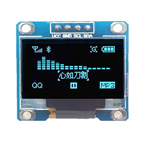 Jekewin 0.96' inch I2c IIC SPI Serial 12864 128X64 OLED Display Module for Arduino Raspberry with 4 Pin Font Color Yellow&Blue