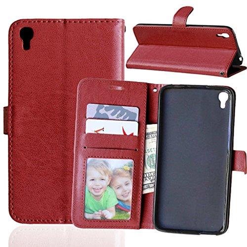 FUBAODA One Touch Idol 3 Flip Hülle, [Kostenlos Syncwire Ladekabel] PU Flip Ledertasche Schutzhülle Case Tasche mit Ständerfunktion & Karte Halter für One Touch Idol 3 (5.5 inch) (braun)