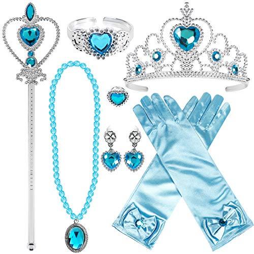 Tacobear Prinzessin Kostüm Zubehör Set Prinzessin Krone Zauberstab Handschuhe Ohrring Halskette Armband Ring Prinzessin Schmuck für Kinder Mädchen (Blau-Prinzessin ELSA Cinderella)